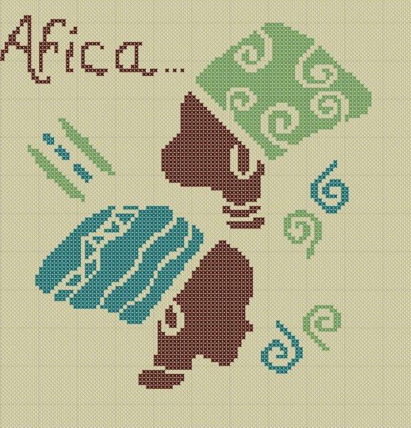 Point de croix style africain astuce couture - Point de croix grilles gratuites ...