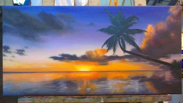 Peinture a l 39 huile peinture acrylique technique au couteau trait et couleur - Peinture au couteau huile ...