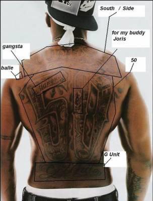 la signification de ces tatouages it 39 s 50 cent ggggggggggg unit. Black Bedroom Furniture Sets. Home Design Ideas