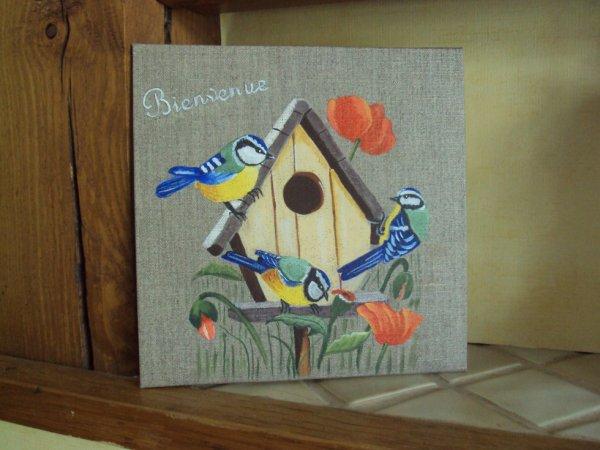 Maison d 39 oiseaux et m sanges lin 20x20 peinture sur bois - Maison oiseau bois ...