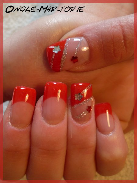 ongles en gel red silvery glitter and flowers strass. Black Bedroom Furniture Sets. Home Design Ideas