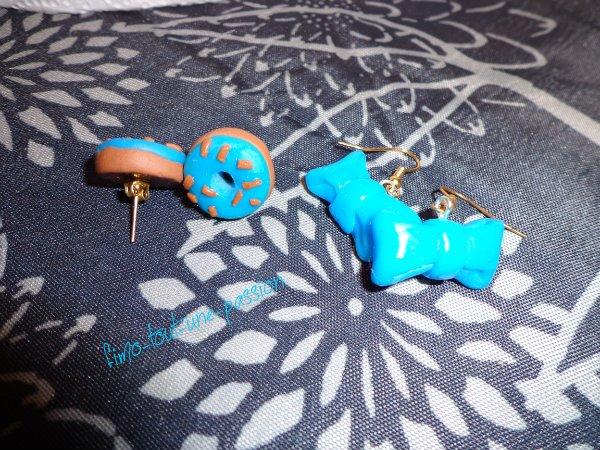 boucles d'oreilles th�me le bleu