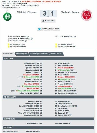 2014 Ligue 1 J02 SAINT-ETIENNE REIMS 3-1, le 17/08/2014