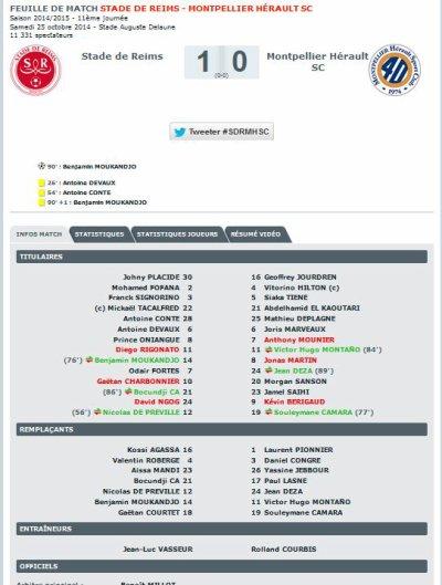 2014 Ligue 1 J11 REIMS MONTPELLIER 1-0 ,  le 25/10/2014
