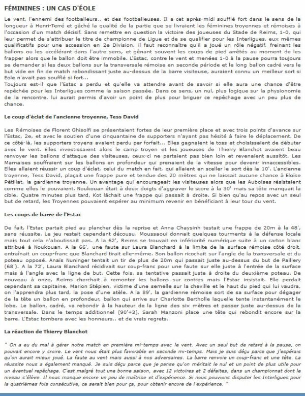 2014  REIMS F�minines :  DH J14 TROYES REIMS 0-1, le 29/03/2015