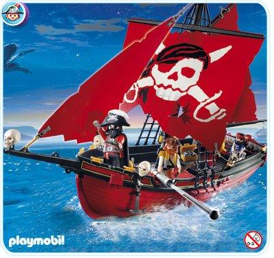 06 navire barque 5869 bateau de pirate rouge photo archive article playmobil. Black Bedroom Furniture Sets. Home Design Ideas