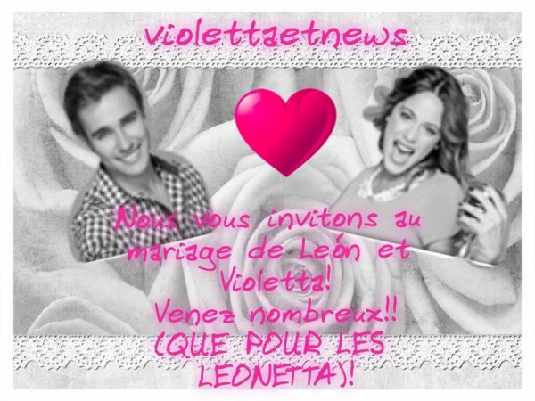 Venez nombreux leur mariage fiction sur jorge et tini - Photo de leon et violetta ...