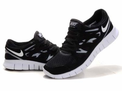 nike free run 2 black and white men