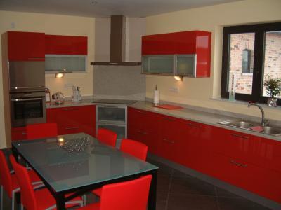 cuisine rouge fabrice. Black Bedroom Furniture Sets. Home Design Ideas