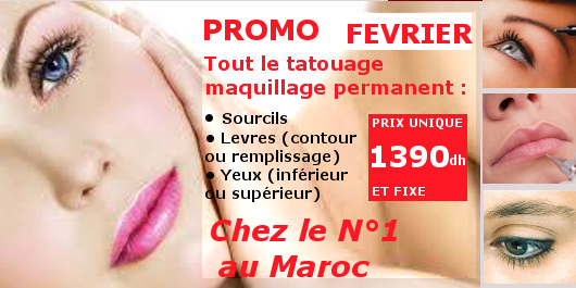 promo fevrier flash tout le maquillage permanent tatouage 1290dh salon francais de coiffure. Black Bedroom Furniture Sets. Home Design Ideas