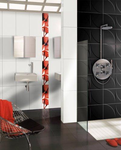 Salle de bain notre lodie 6 - Douche italienne noir et blanc ...