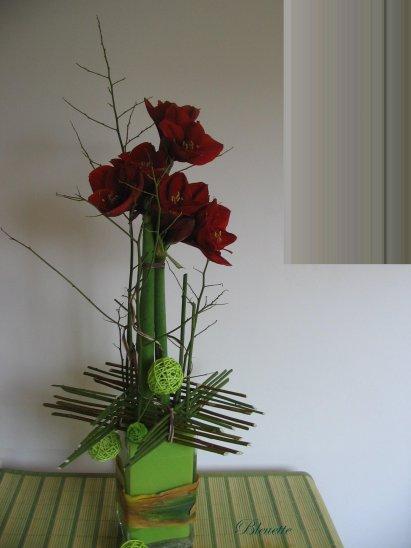 Amaryllis en ceinture d 39 osier art floral bleuette010 for Amaryllis en bouquet