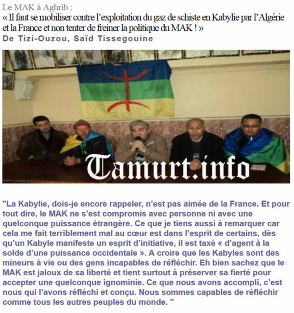 « Il faut se mobiliser contre l'exploitation du gaz de schiste en Kabylie par l'Algérie et la France et non tenter de freiner la politique du MAK ! »