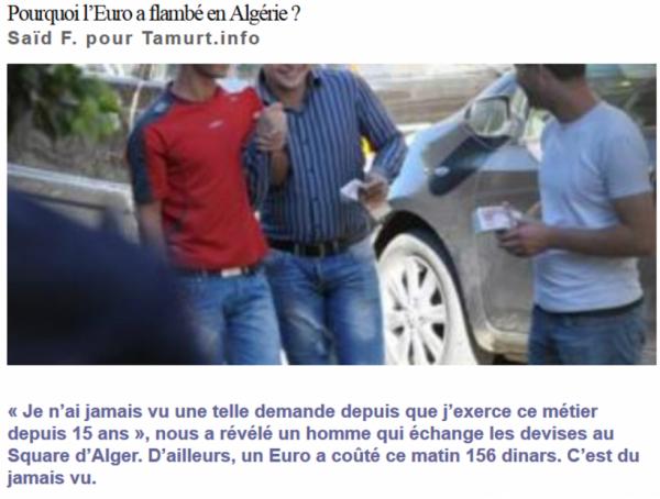 Pourquoi l'Euro a flambé en Algérie ?