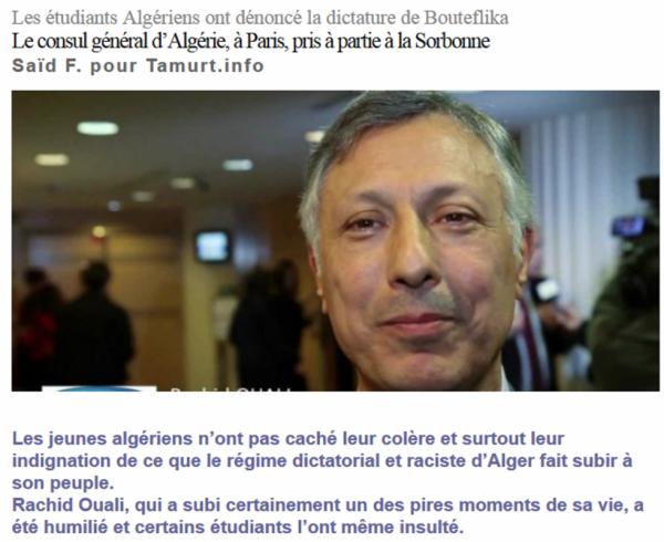 Les étudiants Algériens ont dénoncé la dictature de Bouteflika Le consul général d'Algérie, à Paris, pris à partie à la Sorbonne