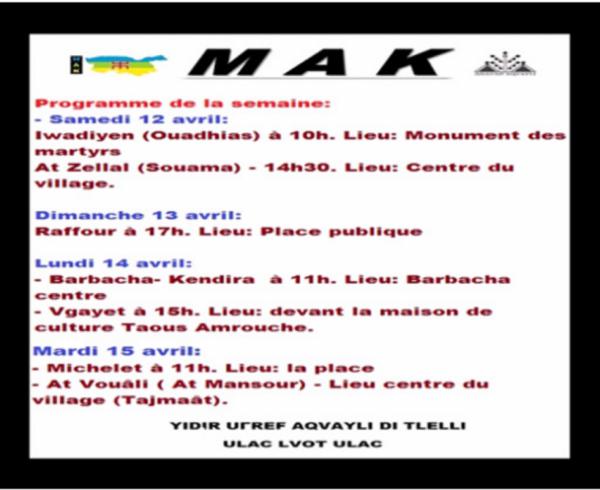 Le MAK annonce une nouvelle série de meetings avant le 17 avril et prépare activement les marches du 20 avril.
