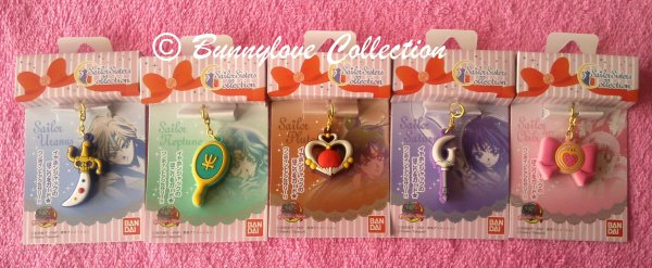 Sailor Moon Charm Charapin Set IV - Neptune Uranus Pluto Saturn Chibi Moon