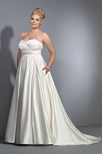Robe de mariée grande taille simple encolure en V noeud papillion en ...