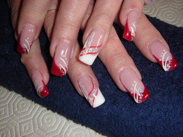 Un de mes mod les blog de mymy0059 - Ongle rouge et blanc ...