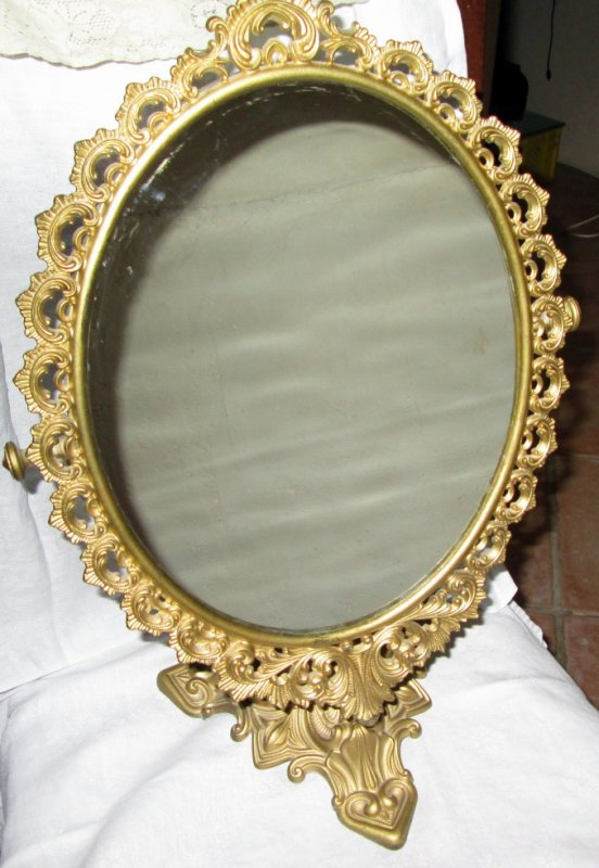 Ancien miroir sur pieds en laiton ebay - Miroir ovale sur pied ...
