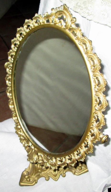 Ancien miroir sur pieds en laiton ebay for Petit miroir sur pied ancien