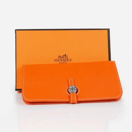 Hermes paris ladies orange leather dogon wallet for 118 for Paris orange card