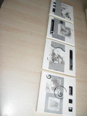 Tableau abstrait 4 x noir blanc gris tableaux - Tableau noir blanc gris ...
