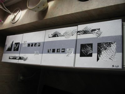 Tableau abstrait 4 x noir blanc gris b tableaux for Tableau gris blanc noir