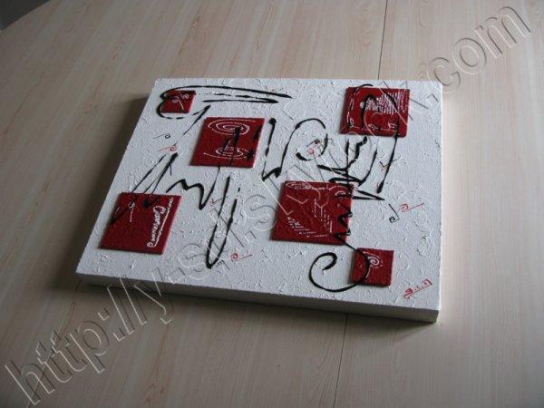 Tableau abstrait en relief blanc et rouge tableaux for Tableau noir blanc rouge