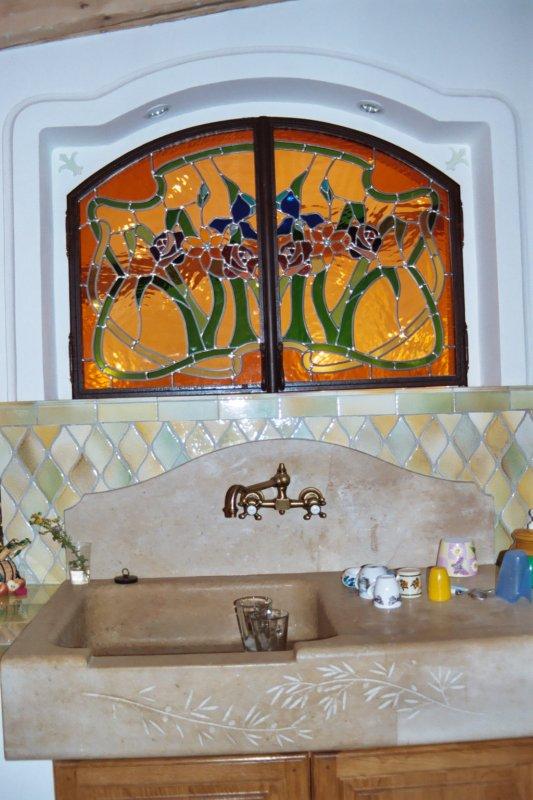 separation de cuisine et salle manger passe plat vitraux d 39 antan. Black Bedroom Furniture Sets. Home Design Ideas