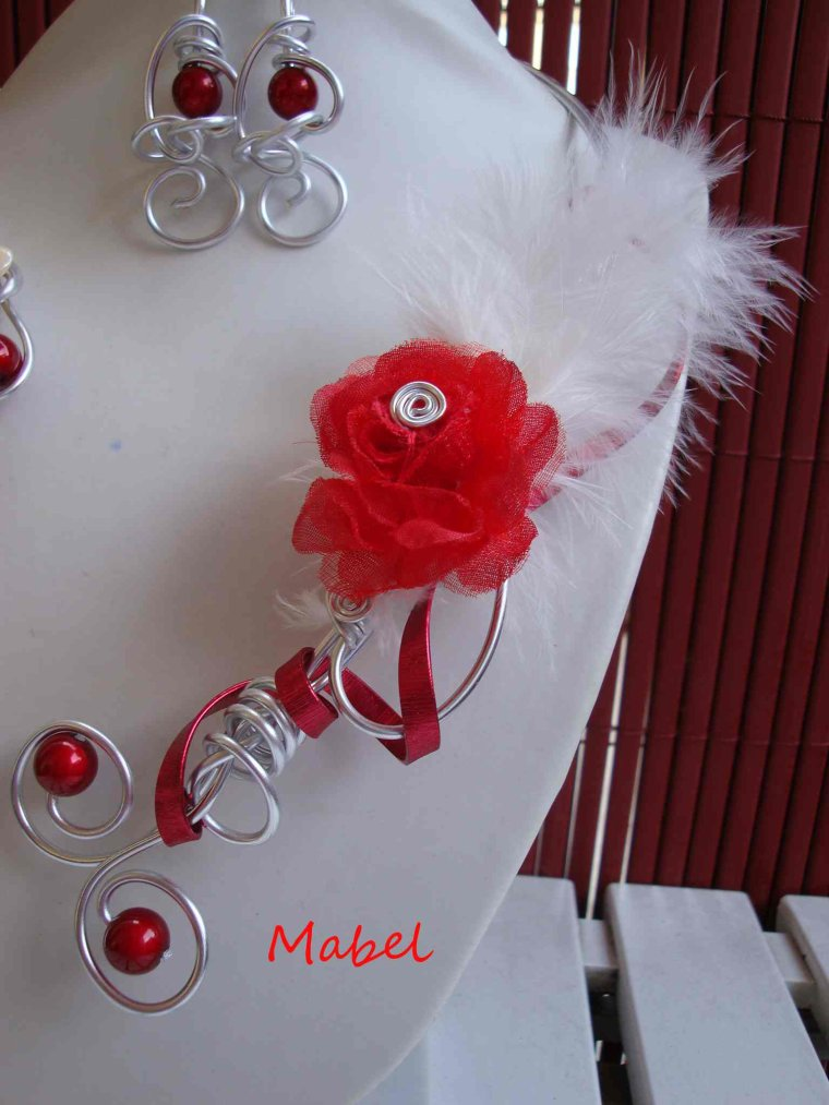 570 collier et boucles d 39 oeilles rouge et blanc plume fleur organza fil alu mariage vous. Black Bedroom Furniture Sets. Home Design Ideas