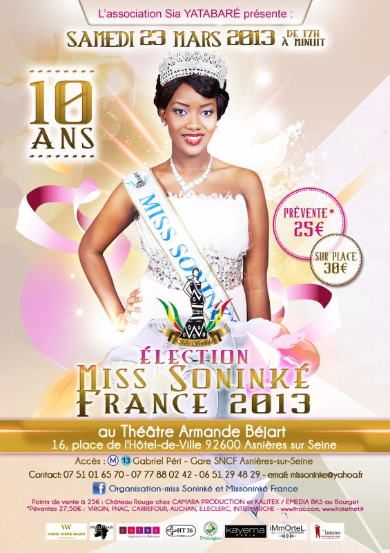 Samedi 23 Mars 2013, 10 �me Election miss sonink� france