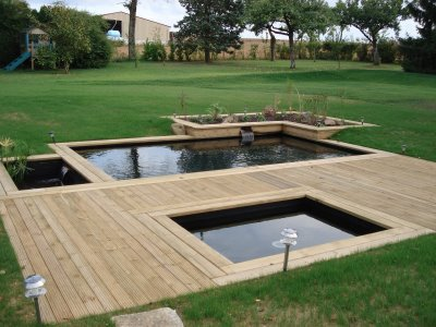 3petits etang avec filtre naturel et terrasse en tec tout for Filtre etang