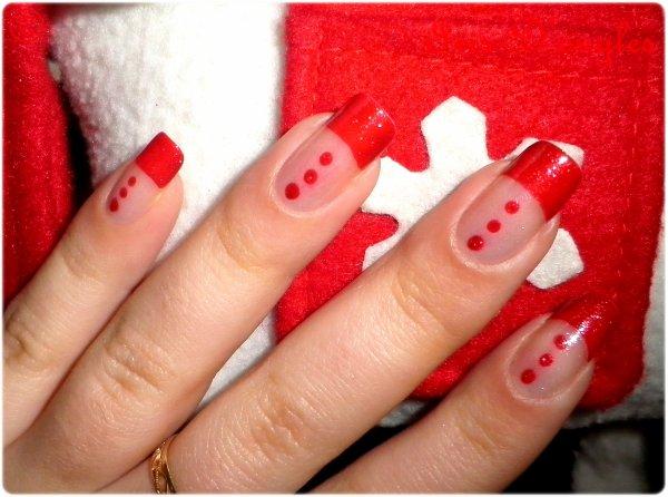 Nail art de pr no l french manucure rouge l iris au pays des licornes - French manucure rouge ...