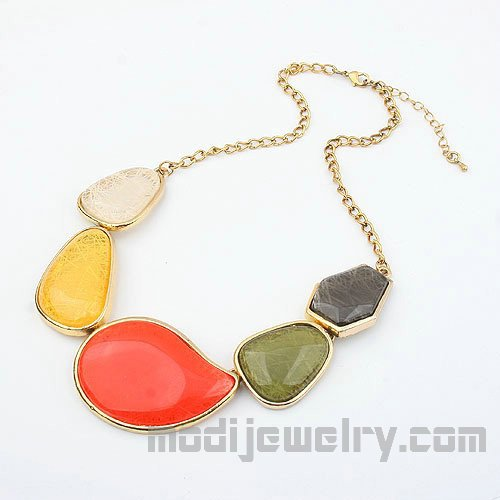 Color Stone fashion necklace cheap fashion jewelry china fashion jewelry stor