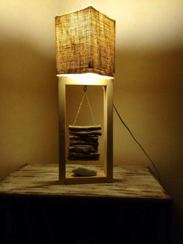 Petite lampe toile de jute bois flott e contemporaine kevdeco c urnature - Lampe de chevet contemporaine ...