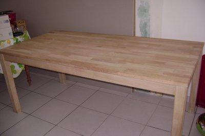 Table de salle manger en ch ne massif blanchi 250 - Table en chene blanchi ...