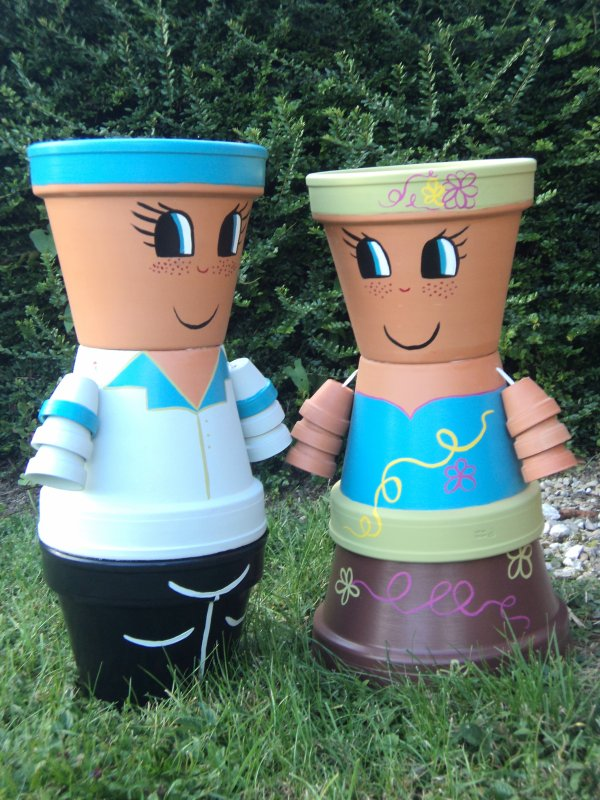 Samedi 22 septembre 2012 17 38 mes petits personnages en pots de terre cuite - Nouveaux personnages en pots de terre cuite ...