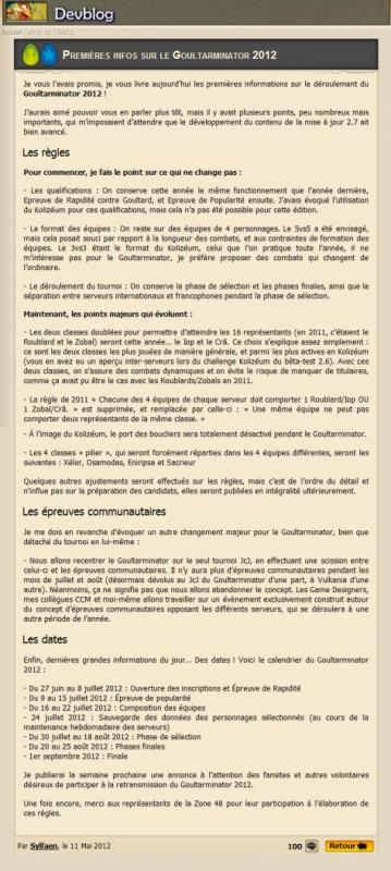 Goultarminator 2012, premi�res infos