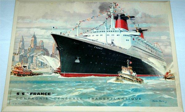 Le paquebot FRANCE par le peintre de marine MARIN MARIE