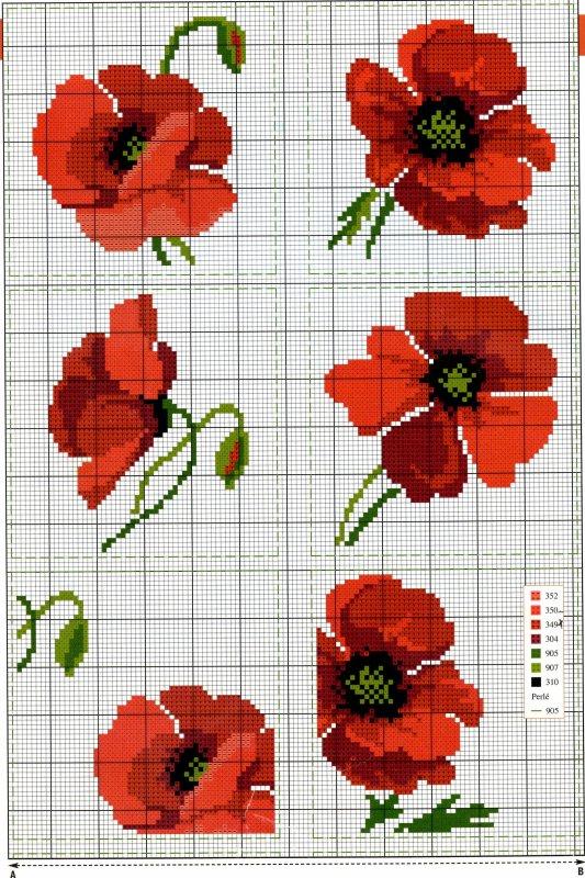 Nappe coquelicot blog de pointdecroix80 - Broderie point de croix grilles gratuites fleurs ...