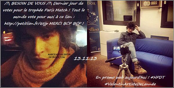 . D�couvrez les photos post�es par Valentin ou d'autres sur les r�seaux sociaux, du 02 au 13 novembre 2013 !  + TOP, BOF, FLOP ?  .