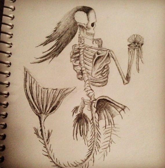 Pin squelette sirene on pinterest - Dessin de squelette ...