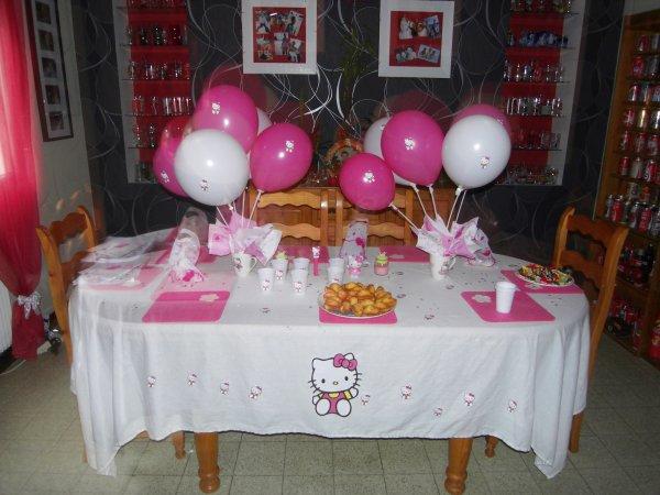 Table d 39 anniversaire hello kitty pour l 39 anniversaire de ma fille - Deco table d anniversaire ...
