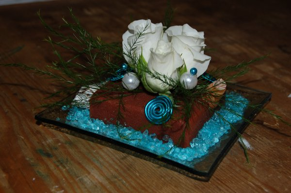 compo turquoise chocolat blanc mon blog d 39 art floral. Black Bedroom Furniture Sets. Home Design Ideas