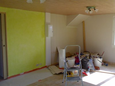 Peinture salle a manger salon vert menthe a l 39 essuy a for Peinture a l essuye