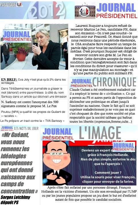 JOURNAL PRESIDENTIEL: 8 F�vrier 2012