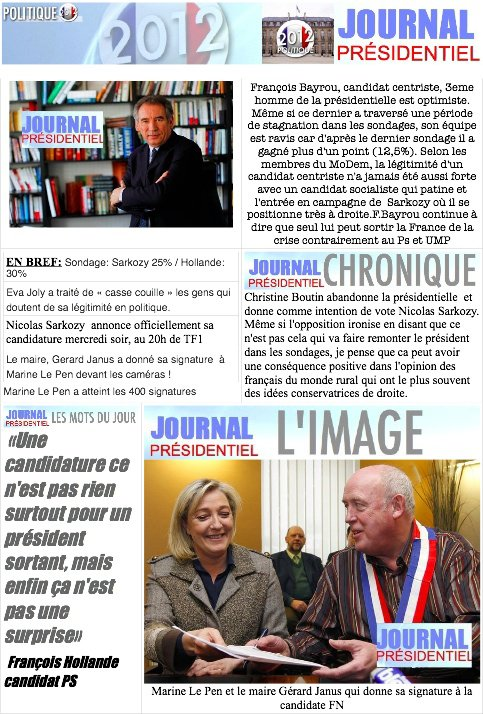 JOURNAL PRESIDENTIEL: 14 F�vrier 2012