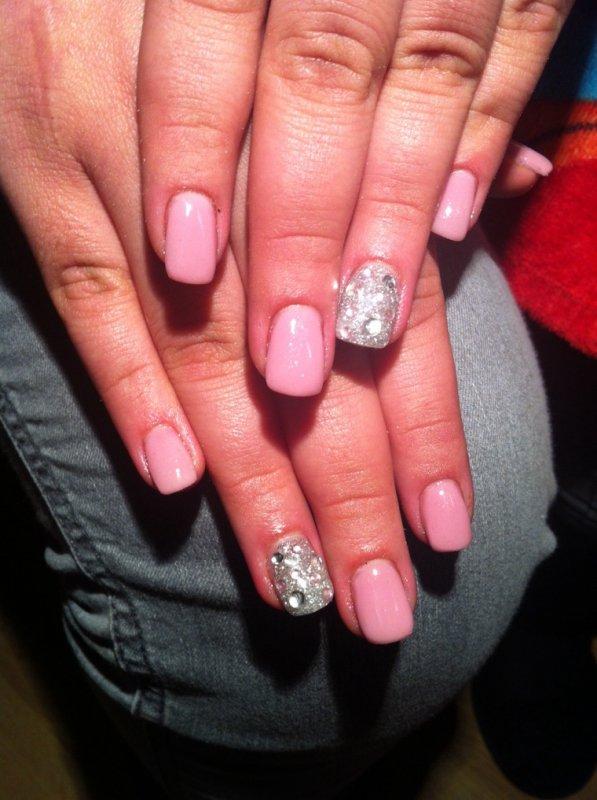Nails pink et argent�s