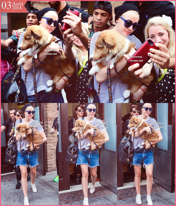 . |03/08/2014 | Candids | Miley sortant de son h�tel � New-York, toujours. .